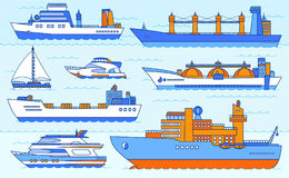 Vector set of container ships. Royalty Free Stock Photos
