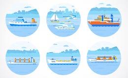 Vector set of container ships. Stock Photos