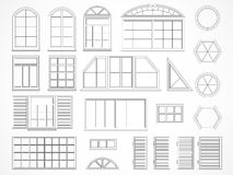 Vector set of contours windows and shutters. Stock Photo