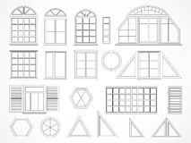 Vector set of contours windows and shutters. Stock Photography