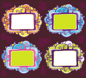 Vector set of cool design retro frames. Abstract curly framework set with space for your text Royalty Free Stock Images