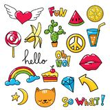 Vector set of cool stickers, patches with food and summer symbols. Vector set of cool stickers, patches with summer symbols and food Stock Image