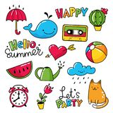 Vector set of cool stickers, patches with and summer symbols. Vector set of cool stickers, patches with food and summer symbols Stock Photo