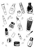Vector Set of Cosmetic Doodles Stock Images