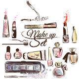 Vector set from cosmetics in watercolor style Royalty Free Stock Photos