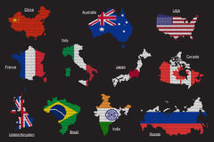 Vector set of countries map flag. Set of countries map flag from hexagons Stock Image