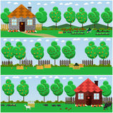 Vector set of countryside concept backgrounds with fruit, vegetable garden Royalty Free Stock Photo