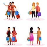 Vector set of couple buyers holding bags for seasonal shopping sale. Vector set of couple buyers holding bags for seasonal shopping sale concept royalty free illustration