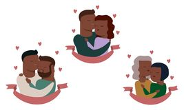 Vector set of couples, heterosexual and homosexual. stock illustration