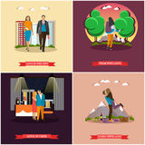 Vector set of couples in love concept posters. Characters in different situations and poses Stock Photo