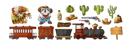 Vector Set Cowboy and Wild West Labels and Sticker Elements in Cartoon Style vector illustration