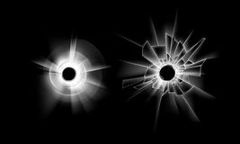 Vector Set of Crack Broken Glass Window with two Bullet Holes Close up  on Dark Black Background. Vector Set of Transparent Crack Broken Glass Window with two Royalty Free Stock Photography