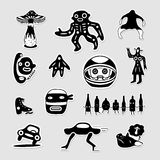 Vector set of crazy bizarre black and white stickers. Royalty Free Stock Photos