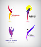 Vector set of creative human, man logos. Leader, business success, sport, yoga, healthy lifestyle signs, icons. Isolated Stock Image
