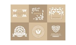 Vector set of creative logos with abstract leaves. Natural product. 100 organic. Healthy lifestyle. Monochrome badges. Collection of creative logo templates with royalty free illustration
