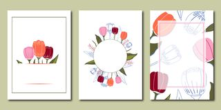 Vector set of creative spring universal floral cards vector illustration