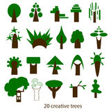 Vector set of creative trees. Icons Stock Images