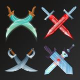 Vector set of crossed medieval swords. Set of cartoon medieval crossed swords. Fantasy and epic stiletto, rapier, sabre, knife and broadsword vector illustration Stock Images