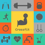 Vector Set of Crossfit Icons. Sport, fitness, gym workout Stock Photo