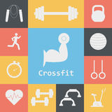 Vector Set of Crossfit Icons. Sport, fitness, gym workout Royalty Free Stock Photos
