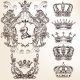 Vector set of crowns and detailed shields for your heraldic desi Stock Image