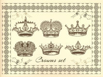 Vector set of crowns for your heraldic design Stock Photos