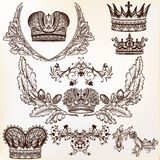 Vector set of crowns for your heraldic design Royalty Free Stock Images