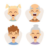 Vector set crying emoticons face of people fear shock surprise avatars characters illustration Stock Image