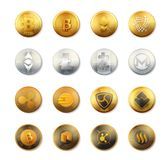 Vector set of crypto currency logo gold, silver, bronze coins. Crypto currency coins vector collection. Crypto currency Bitcoin Royalty Free Stock Image