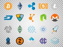 Vector set of cryptocurrency icons.  Stock Image