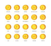 Vector set of cryptocurrency icons. Top 20 signs related to bitcoin and based on blockchain technologie crypto Royalty Free Stock Photos