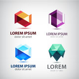 Vector set of crystal 3d logos, icons, signs Stock Photos