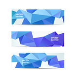 Vector set of crystal modern faceted geometric. Blue banners . Blue 3d shapes Stock Images