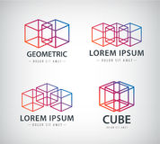 Vector set of cube construction logos, icons. Isolated Stock Photos
