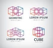 Vector set of cube construction logos, icons Stock Photos