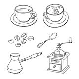 Vector set with cups of coffee, coffee beans, coffee maker, coffee grinder, spoon Stock Image