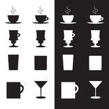 Vector set of cups and glasses in eps Royalty Free Stock Photography