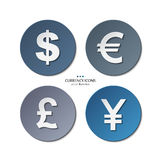 Vector set of currency icons, dollar, euro, pound Royalty Free Stock Photography