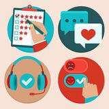 Vector set of customer service in flat style. Feedback, survey and support Stock Photo