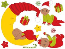Vector Set of Cute African American Babies Wearing Christmas Clothes. Set includes baby boy, baby girl, the Moon, stars, snowflakes, candy stick and gift boxes Royalty Free Stock Photography