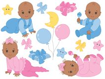 Vector Set of Cute African American Baby Boy and Baby Girl. Vector Baby Shower vector illustration