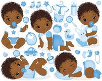Vector Set for African American Baby Boy Shower. Vector set with cute African American baby boys, toys, clothes, decorations and various accessories. Vector baby stock illustration