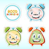 Set of alarms. Vector set of cute alarm clock stickers in cartoon style Royalty Free Stock Image