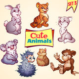Vector set of cute animals. Cat, hare, koala and Stock Image