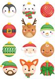 A vector set of cute animals and character christmas balls decoration. A vector set of cute winter animals and character christmas balls decoration vector illustration