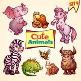 Vector set of cute animals. Elephant, snail Stock Photo