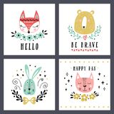 Vector set of cute animals: fox, bear, rabbit, cat. Illustrations for children`s prints, greetings, posters, t-shirt Stock Photography