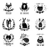 Vector set of cute animals: fox, bear, rabbit, squirrel, wolf, hedgehog, owl, cat. Illustrations for children`s prints Royalty Free Stock Photos