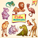 Vector set of cute animals. Lion, rhino, giraffe Stock Image