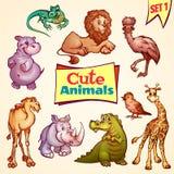 Vector set of cute animals. Lion, rhino, giraffe Stock Image
